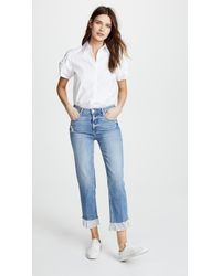 PAIGE - Blue Sarah High Rise Jeans With Ruffled Hem - Lyst