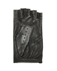 Agnelle - Black Fayed Auto Leather Gloves - Lyst