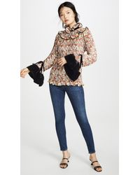 Tory Burch Multicolor Pleated Ruffle Blouse