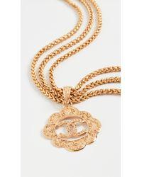 Chanel Metallic Triple Strand Cc Necklace
