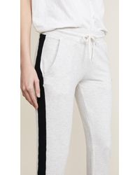 Monrow White Color Block Sporty Sweatpants