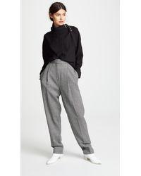 Tibi Gray Sculpted Pleat Pants