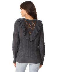 Nightcap - Gray Lace Inset Sweater - Lyst