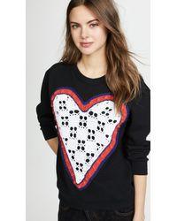 Michaela Buerger Blue Crochet Heart Sweater