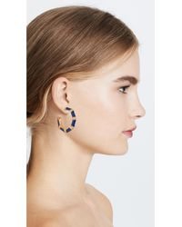 Kenneth Jay Lane Blue Bamboo Hoop Earrings