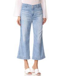 AG Jeans Blue The James Suspender Wide Leg Crop Overalls
