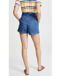 Madewell Blue Structured Paperbag Shorts