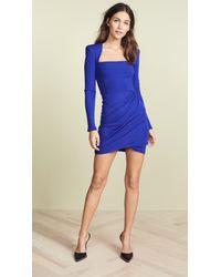 Versace Blue Square Neck Bodycon Mini Dress