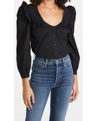 Nation Ltd Black Tatiana Ruffled Shirt