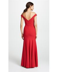 Marchesa notte Red Off Shoulder Gown