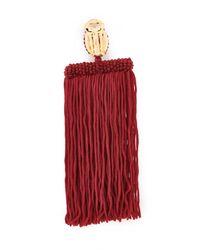 Oscar de la Renta - Red Long Silk Waterfall Tassel Clip On Earrings - Lyst