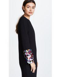 Victoria, Victoria Beckham Black Embroidered Long Sleeve Shift