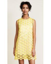 Paskal Yellow Laser Cut Mini Dress