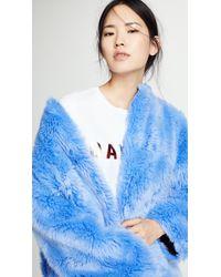 MSGM Blue Faux Fur Long Coat