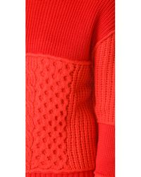 McQ Alexander McQueen - Red Cable Mix Crop Crew - Lyst