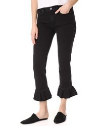 PAIGE Black Rafaela Jeans With Ruffle Hem