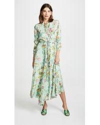 Vilshenko Green Holly Embroidered Printed Silk Midi Dress