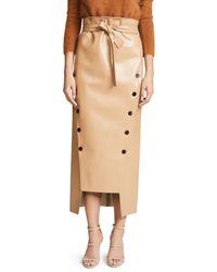 Awake - Natural Double Button Front Tie Waist Skirt - Lyst
