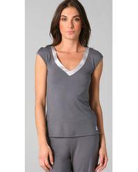 Calvin Klein - Gray Essentials Satin Cap Sleeve Top - Lyst