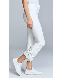 10 Crosby Derek Lam - White Trouser With Eyelet Embroidery - Lyst