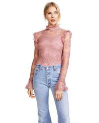 Nicholas - Pink Thalia Lace Ruffle Blouse - Lyst