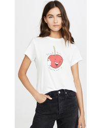 Agolde White Thank You Cherry Much Baby Tee