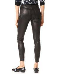 J Brand - Black High Rise Alana Crop Leather Pants - Lyst