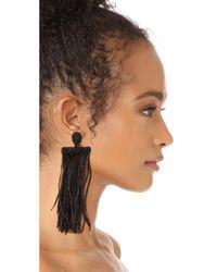 Oscar de la Renta - Black Feather Tassel Clip On Earrings - Lyst