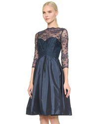 Monique Lhuillier Bridesmaids - Blue Lace Bodice V Back Dress - Lyst