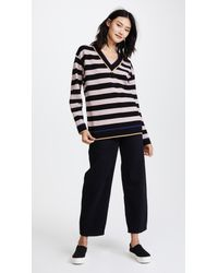 Diane von Furstenberg - Black V Neck Oversized Pullover - Lyst