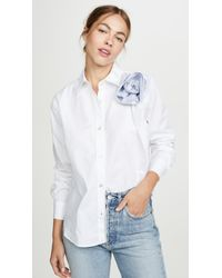 CLU White Shirt With Contrast Ruched Flower Detail