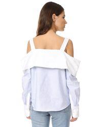 CLU - Blue Off The Shoulder Shirt - Lyst
