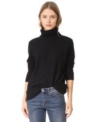 Vince - Black Felted Cashmere Turtleneck Sweater - Lyst