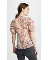 Rebecca Taylor - Multicolor Short Sleeve Margo Floral Top - Lyst