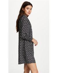 Rebecca Taylor Black Long Sleeve Rue Floral Dress