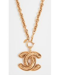 What Goes Around Comes Around Metallic Chanel Quilted Large Cc Necklace