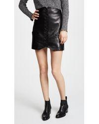 Helmut Lang Black Leather Vest Skirt