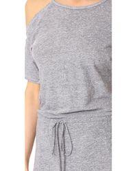 Lanston   Gray Cold Shoulder Tee Midi Dress   Lyst