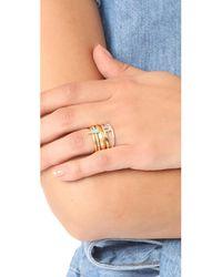 Madewell | Metallic Turquoise Enamel Ring Stack | Lyst