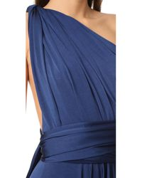 Twobirds Blue Tea Length Convertible Dress