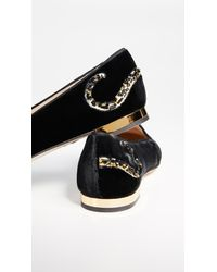 96c67a75147 Lyst - Charlotte Olympia Tiger Paw Loafers in Black