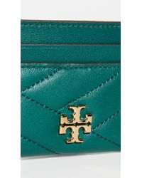 Tory Burch Green Kira Chevron Card Case