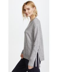 Vince - Gray Side Tie Cashmere Crew Sweater - Lyst