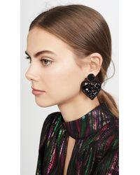 Oscar de la Renta Black Embellished Heart Earrings