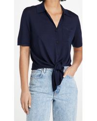 Theory Blue Hekanina Tie Front Top