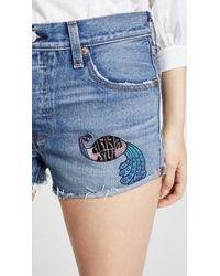 Anna Sui Blue Levi's X Peacock Patch & Rising Sun Shorts
