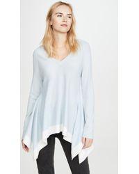 TSE Blue Draped Cashmere Sweater