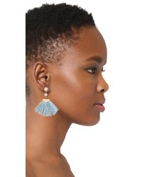 Shashi - Blue Mia Tassel Fan Earrings - Lyst