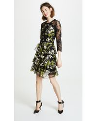 2f62a8b2ad1 Lyst - Marchesa notte 3 4 Sleeve Embroidered Cocktail Dress in Black