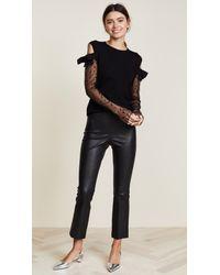 Giambattista Valli Black Knit Cashmere Sweater With Mesh Sleeves